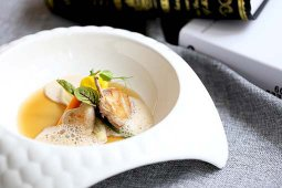 Slow Cooked Quail with Celery Heart and Mushroom Foam
