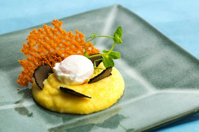 Soft Polenta with Poached Egg and Black Truffle