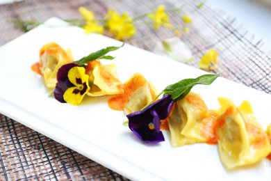 Homemade Tortellini Stuffed with Pork & Mushroom, served with Sage Butter Sauce