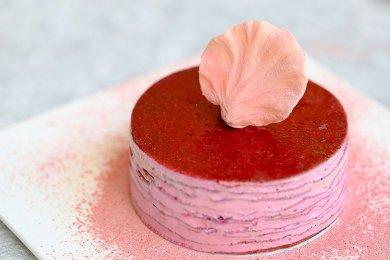 Red Dragon Fruit Mascarpone Mille Crepe Cak