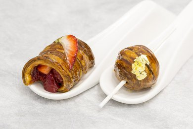 Coffee Lollipop Puff Pastry and Italian Balsamic Strawberry Puff Pastry