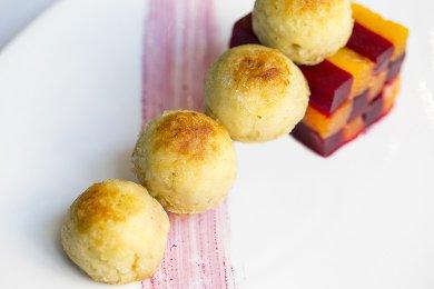 Bake Fish & Potato Ball with Beet Root & Orange Salad