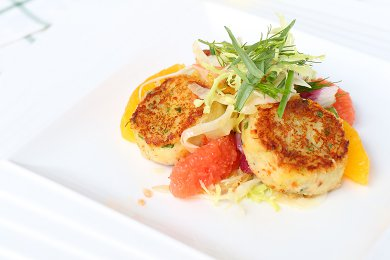 Pan fried Crab Cake with Herby Citrus Fruit Salad