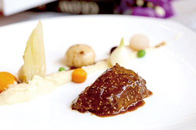 Braised Spanish lberico Pork Cheek in Pommery Mustard Sauce & Creamy Celeriac Puree ***