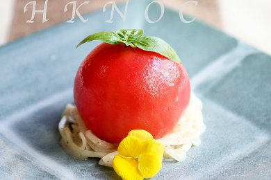 Confit Tomato stuffed with Tomato Jelly & Sesame Dressing