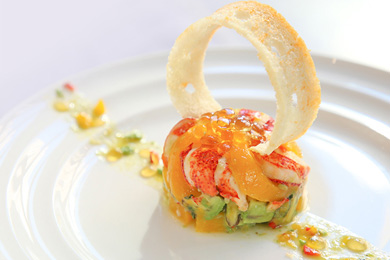 Lobster & Avocado Mango Salad with Mint Tea Peal Jelly