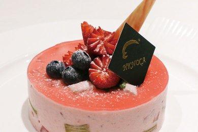 Rhubarb Strawberry Mousse Cake
