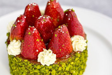 Pistachio Strawberry Cream Tartlet
