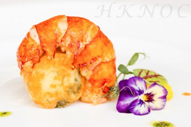 Butter Roasted Lobster with Crab Meat Potato Cake