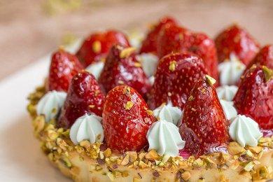 Pistachio Strawberry Cream Tartlet
