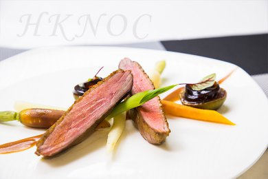 Pan Fried Duck Breast with Coffee Jelly Noodles
