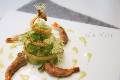Roasted Prawn Stuffed with Cheese & Bacon, served with Green Mustard Dressing