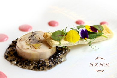 Spring Chicken Roller with Foie Gras Terrine & White Wine Jelly