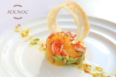 Lobster & Avocado Peach Salad with Mint Tea Peal Jelly