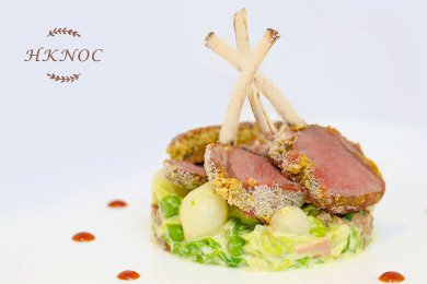 Baked Lamb loin with Creamy Green Peas & Cabbage