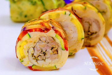 Pan Fried Slice Vegetables Roller with Spring Chicken Steak