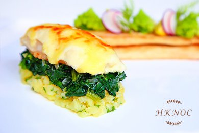 Bake Turbot Fish Fillet with Cheese Cream Sauce