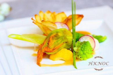 Braised Zucchini Flower with Mushroom Stuffing