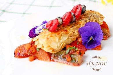 Pan Fried Almond Fish fillet with Fresh Fruit Salsa Dressing