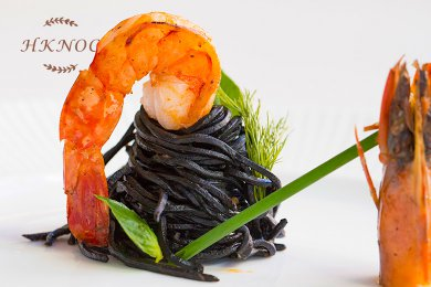 Homemade Squid Ink Noodles served with King Prawn & Thai Red Curry Sauce