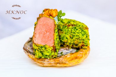 Pan Fried Ostrich Fillet with Sesame Seed & Cheese on Portabella Mushroom