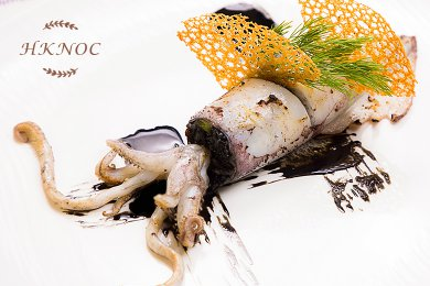 Pan Roasted Squid stuffed with Glutinous Rice & Anchovies