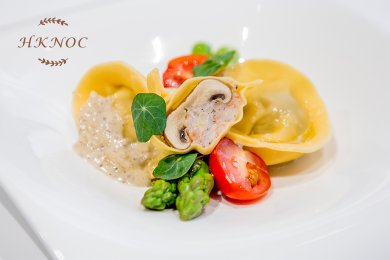 Prawn Stuffed Mushroom Ravioli with Truffle Cream Sauce