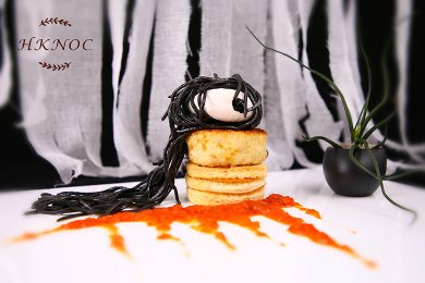 Halloween Squid Ink Noodles with Poach Egg & Crab Cake