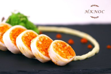 Grilled Squid stuffed with Minced Salmon & Spicy Couscous