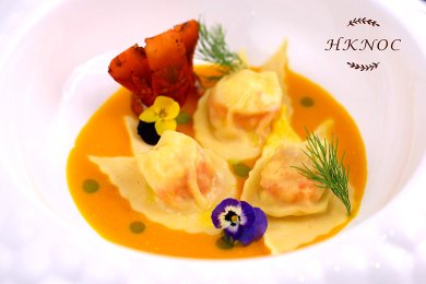 Lobster Ravioli with Champagne & Carrot Sauce