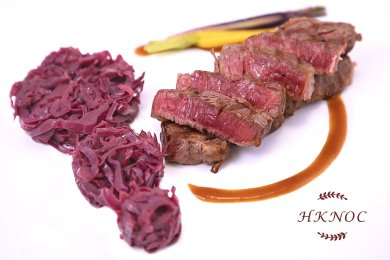 Grilled Rib Eye Steak with Braised Red Cabbage