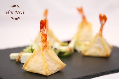 Bake Spicy Prawn Pastry with Green Apple, Walnut & Cheese Salad