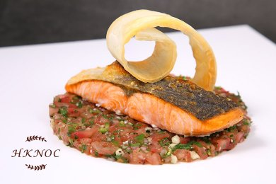 Pan Fried Crispy Salmon Fillet with Spicy Tomato & Anchovies Dressing