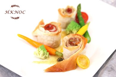 Baked Filo Pastry Sole Fillet Rolled with Parma Ham